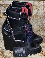 DIESEL D-Vibe MB Black High Wedge Heel Black Grey Ankle Boots NEW Womens Sz 7.5
