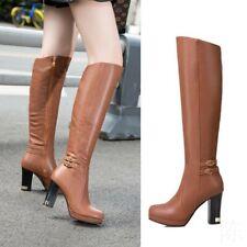 US10.5 Women's Zipper  Leather Buckle Block Heel Knee High Boots Shoes Ske15