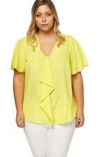 Bnwt 16 -28 Yellow Flared Sleeve Frilled Panel Tunic Top Angel Sleeve