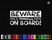 Beware Wild Animals On Board Mom Kids Dad Family Car Decal Window Vinyl Sticker
