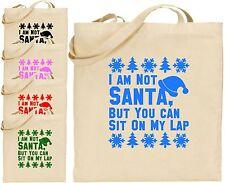 I Am Not Santa Sit On Lap Large Cotton Tote Shopping Xmas Bag Christmas Gift