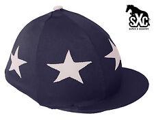 Cappello da equitazione SXC Stampato Seta Skull Cap coperchio blu scuro e bianco con STELLE PON PON