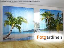 """Fotogardinen """"Strand"""" Vorhang mit Motiv, 3D Fotodruck, Fotovorhang, auf Maß"""