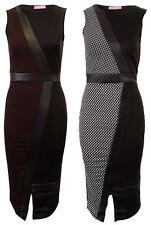 Ladies Sleeveless Knee Length PVC Contrast Polka Dot Midi Women's Dress