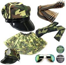 ARMY FANCY DRESS BULLET BELT MILITARY CAPE AVIATOR GLASSES ARMY HEADBAND TUTU UK