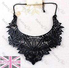 BIG BLACK FILIGREE fashion COLLAR NECKLACE bib choker VINTAGE STYLE LACE DETAIL