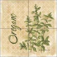 Ceramic Kitchen Tile Backsplash Herbs Oregano by Sara Mullen SM088
