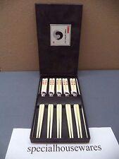 "Japanese 7"" Wood Chopsticks Set of 5 White Purple Black BOGO, FREE U.S. Ship NIB"