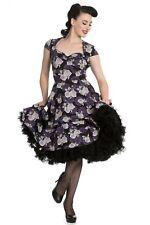 HELL BUNNY Black Purple Rose Floral Rockabilly Pinup ILSA 50's DRESS