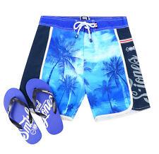 Smith & Jones Summer Beach Surf Swim Board Shorts & Flip Flop Palm Tree New Blue