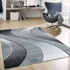 Kurzflor Teppich Wohnzimmer Grau Schwarz Weiß Gestreift Wellen Meliert NEU