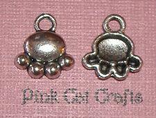 10 x Tibetan Silver PAW PRINT DOGS CATS ANIMAL Charms Pendants Beads