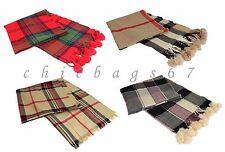 Women Ladies Winter Warm Tartan Long Cotton Checked Shawl Wrap Pom Pom Scarf