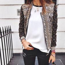 Women's Punk Style Short Blazer Jacket Coat Sport Suit Stand Collar Outwear Tops