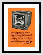 ADVERT TELEVISION TV ORANGE BLACK WHITES BLACK FRAMED ART PRINT PICTURE B12X6014