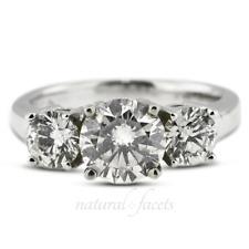 2.74ct D IF Round Natural Certified Diamonds Platinum Classic Three Stone Ring