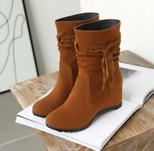 Ladies Mid Calf Autumn Straps Tassels Suede Wedge Hidden Heel Cowboy Boots Solid