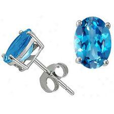 1.00 - 3.50CT Genuine Blue Topaz Oval Shape Stud Earrings Push In 14K White Gold