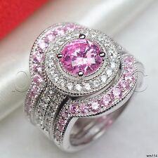 2.5C Bridal White Pink Sapphire Silver 925 Halo Engagement Ring Wedding Ring Set