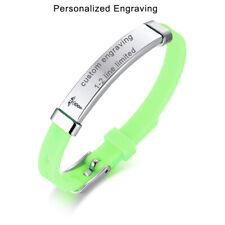 Green Armband Medical Alert ID Name Kids Child Bracelet Cuff Custom Engraving