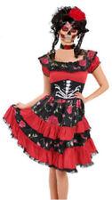 Ladies Halloween Day of the Dead Fancy Dress Senorita Skeleton Costume Women UK