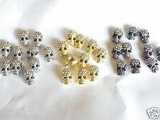 10 x crystal pave alliage crâne perles strass percés côté trous bracelets