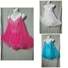 Ventura Pink White Blue Baby Doll Nightgown B3G1 FREE Sexy Sz 1X  2X  3X  4X