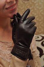 Warm Women Italian Lambskin  nappa Leather Cashmere Lined winter Gloves