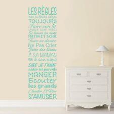 """Sticker Mural Texte """"LES REGLES des Enfants Sages"""" 100x30 cm à 200x60cm (TEX040)"""