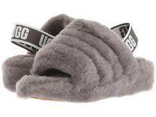 Women's Shoes UGG FLUFF YEAH SLIDE Sheepskin Slipper Sandals 1095119 CHARCOAL