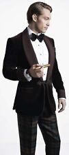 Indian Designer Handmade Tuxedo Blazer Somking Suite One Button Velvet Jacket