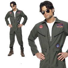 Top Gun Costume Flight Suit Mens Uniform Pilot Aviator New Deluxe Fancy Dress