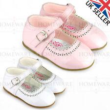 SPANISH SHOES BABY GIRLS MARY JANE SHINY PATENT SHOES BUCKLE WHITE PINK UK2 UK7
