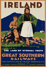 TA31 Vintage Ireland Irish Southern Railways Railroad Travel Poster Re-Print A4