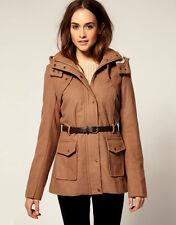 NWT $179 DK Designer Vila Vero Moda Coat Wool Belted Utility Coat Jacket M/L