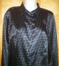 NWT NEW womens ladies size S M L navy blue black l/s stretch satin blouse shirt