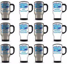 14oz Worlds Best Teacher Titled Novelty Gift Aluminium Travel Mug - Blue