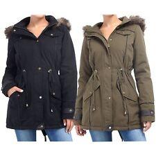 Ladies Brave Soul Oversized Fur Hooded Fishtail Military Parka Jacket Winte Coat