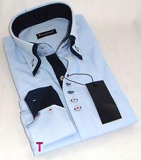 Brand new hommes formelle, smart, bleu clair avec double col bleu marine slim chemise