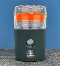 IOCO ALL GLASS 8oz Glass Coffee reusable mug cup keep  -Midnight / Orange Seal