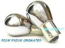 2 LAMPADE CROMATE FRECCIE ARANCIO P21W  MTEC BAU15 BA15S BA15 CHROME BULBS OMOLo