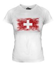 SWITZERLAND DISTRESSED FLAG LADIES T-SHIRT TOP SCHWEIZ SVIZZERA SUISSE SWISS