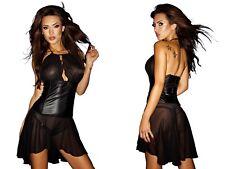 NOIR HANDMADE CHIFFON KLEID netz wetlook clubwear schwarz gothic transparent