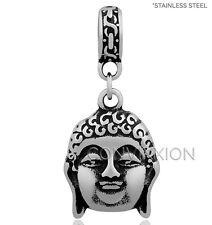 STAINLESS Steel European Charm Bead Dangle Buddha Buddhism Buddhist Peace Spirit