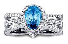 1.28ct Diamond Blue Topaz 14k White Gold Sparkling Wedding Ring FJ EHS
