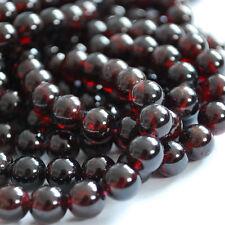 "16"" Genuine Semi Precious Gemstone Garnet Round Beads 4mm - 12mm Grade A+"