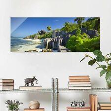 Glasbild Traumstrand Seychellen Panorama Quer Wandbild Echtglas