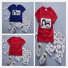 2pcs Kids Baby Boys Dress Short Sleeve T-shirt+Shorts Summer Cotton Clothes Sets