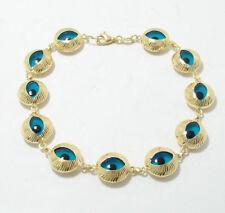Textured Good Luck Evil Eye Bracelet 14K Yellow Gold