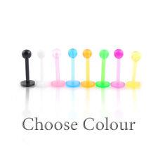 Bioplast Labret Bar Stud Bioflex Monroe oreja tragus Lip Piercing 16 G Colores 3 mm bola